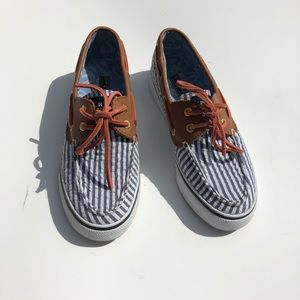 Sperry Seersucker Bahama Navy Boat Shoes Lace Up 3